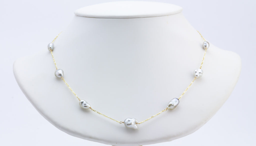 White Tahitian keshi pearl tin cup 14k gold necklace