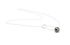 Dark Golden Green Tahitian Pearl Lariat Chain Necklace