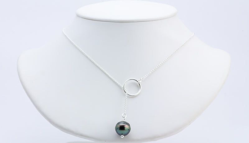 Saturn Tahitian Pearl Lariat Chain Necklace