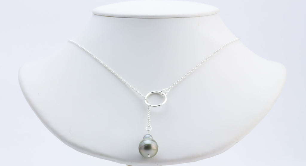 Snow Queen Tahitian Pearl Lariat Chain Necklace