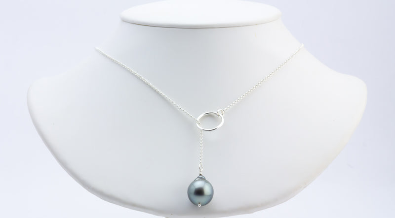 Blue Silver Tahitian Pearl Lariat Chain Necklace
