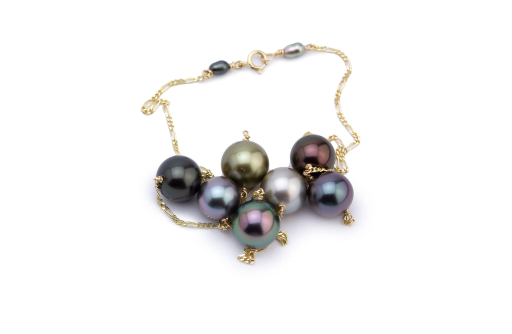 Bright Multi-Color Tin Cup Tahitian Pearl Necklace