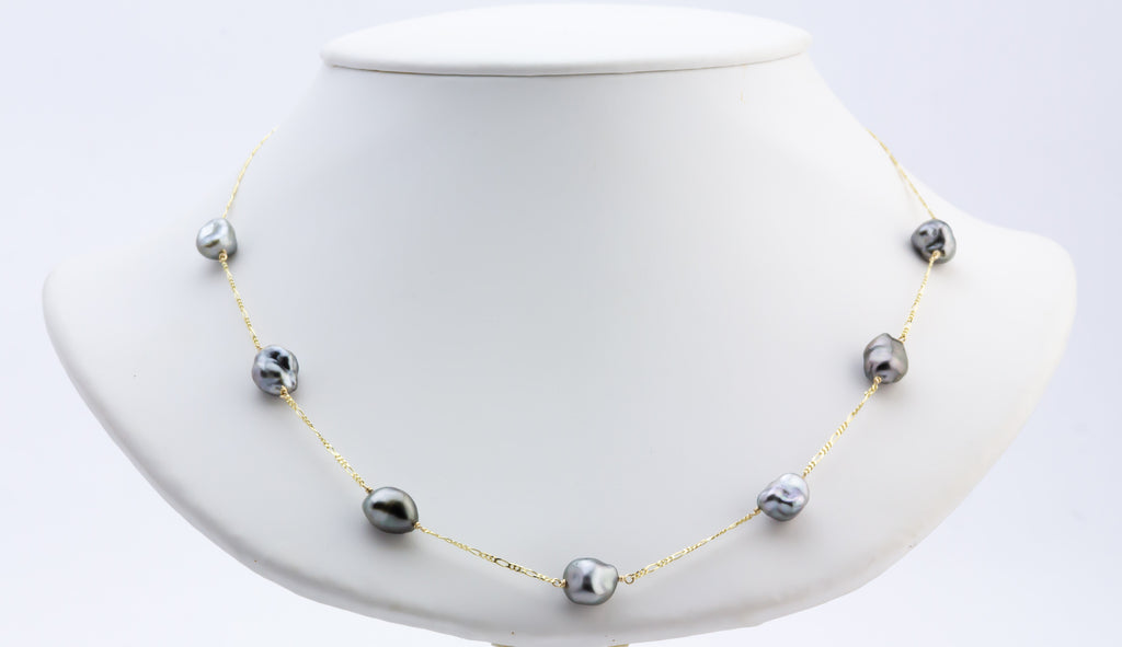 Tahitian keshi pearl tin cup necklace on 14K gold Figaro chain