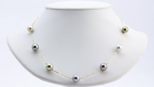 Pastel Tahitian pearl tin cup 14k gold necklace