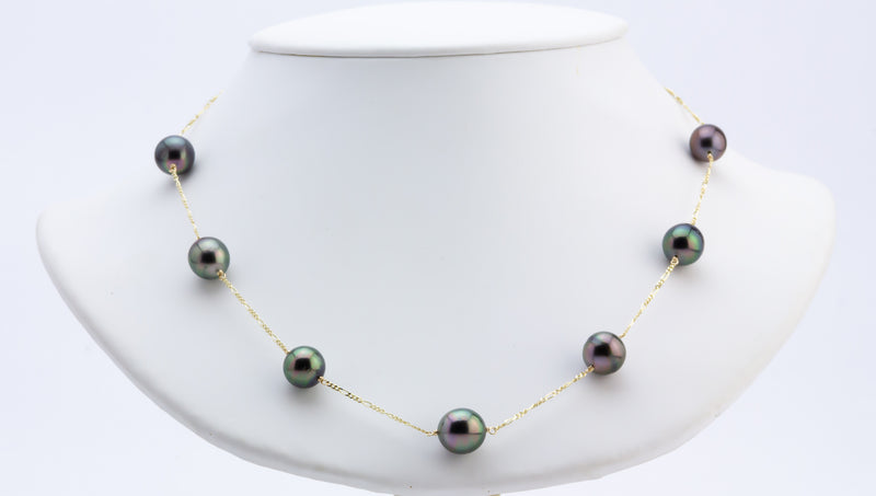 Green Aubergine Peacock Tin Cup Tahitian Pearl Necklace
