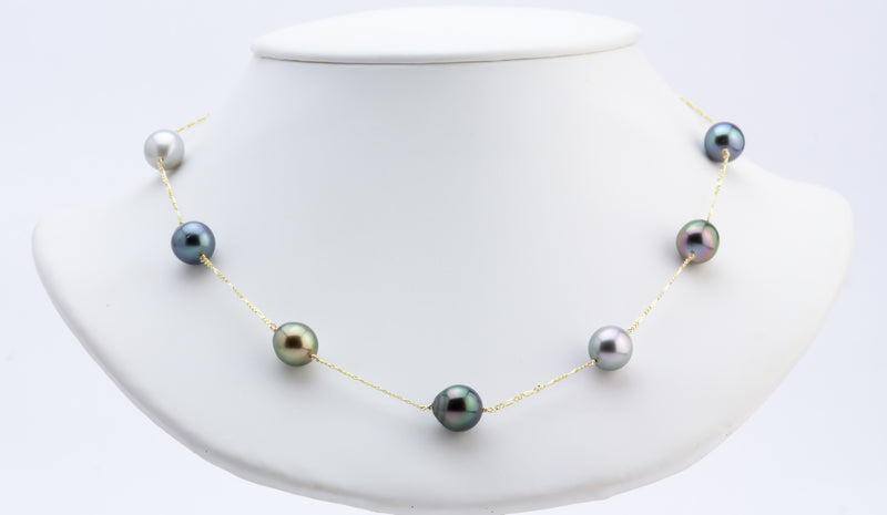 Multi-Color Melody Tin Cup Tahitian Pearl Necklace