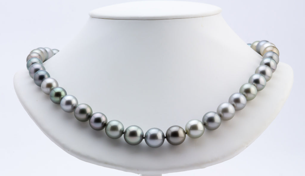 Sable rose silvery pink Tahitian pearl strand necklace 13mm