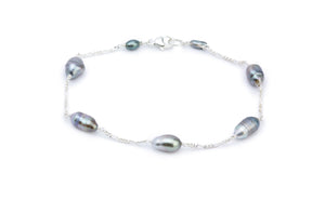 Elongated Circled Tahitian Keshi Pearl Tin Cup Bracelet
