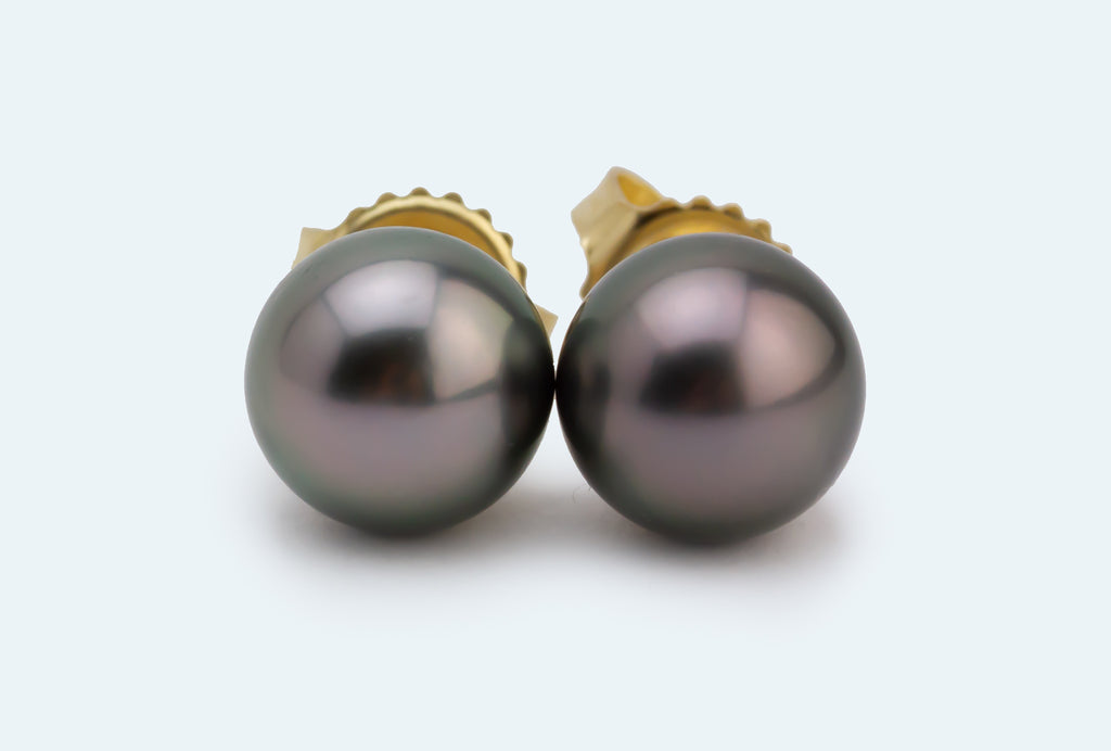 Petite Silvery Pink Tahitian Pearl Stud Earrings