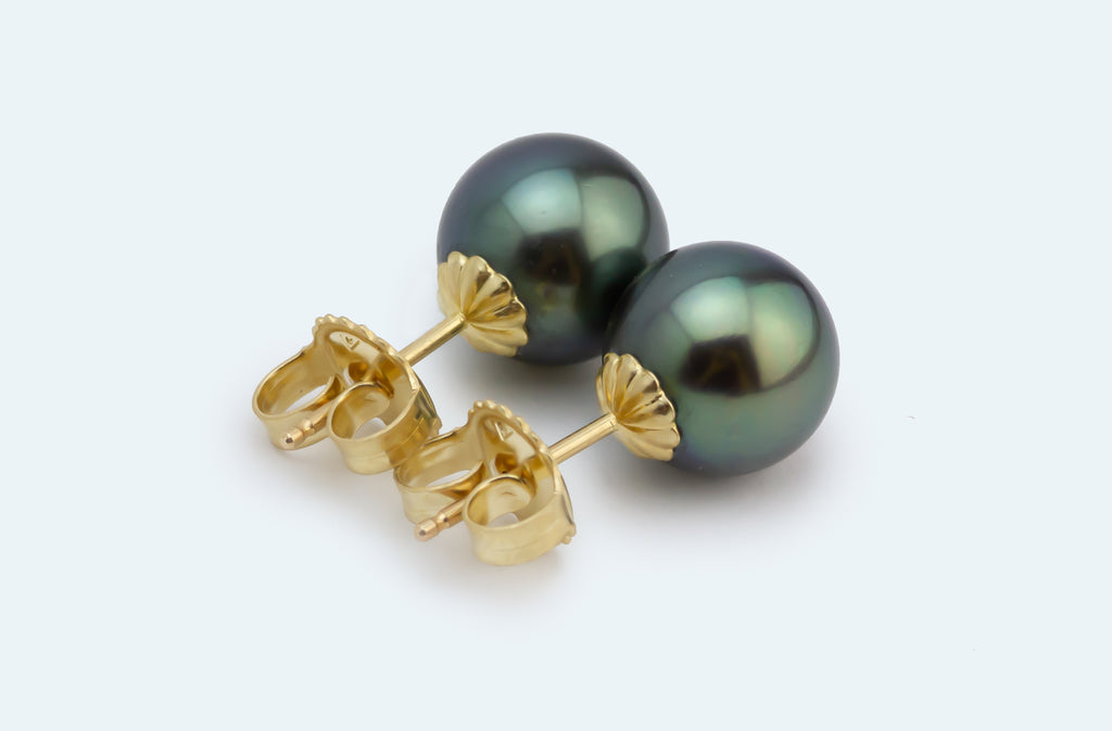 True Green Tahitian Pearl Stud Earrings
