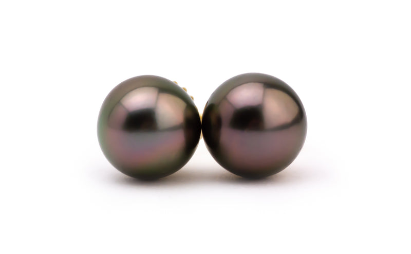 Petite Aubergine Tahitian Pearl Stud Earrings