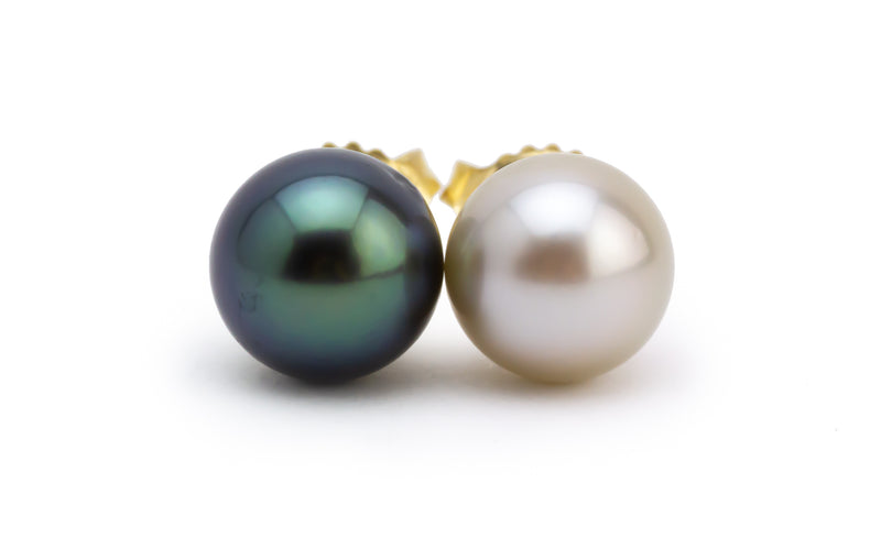 Petite Black & White Tahitian Pearl Stud Earrings
