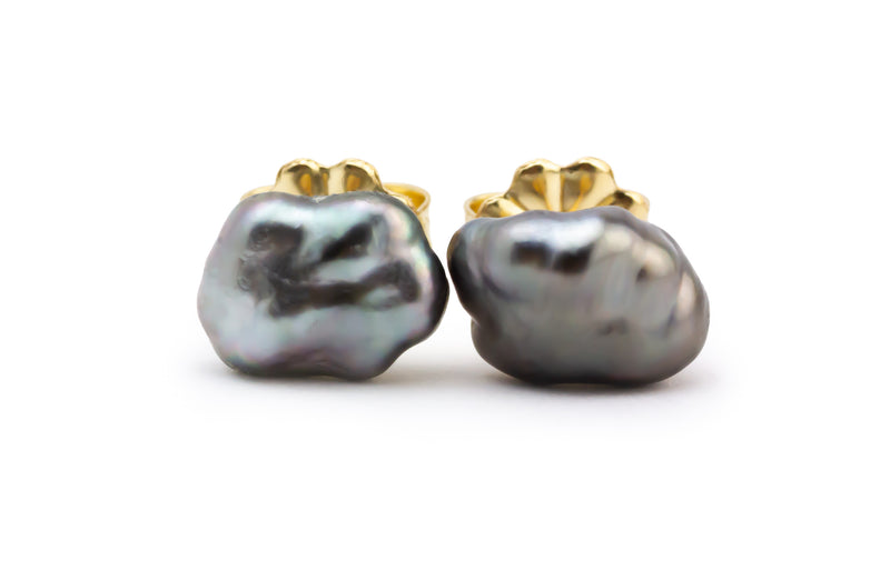 Silvery Lavender Cloud Tahitian Keshi Pearl Stud Earrings