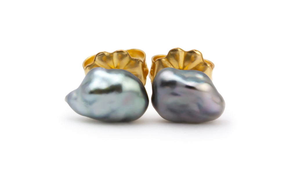 Silver Cloud Tahitian Keshi Pearl Stud Earrings