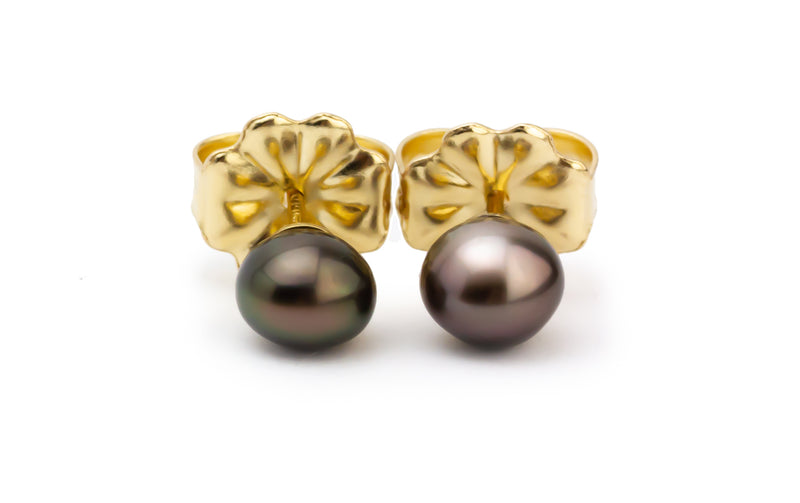 Tiny Aubergine Tahitian Keshi Pearl Stud Earrings