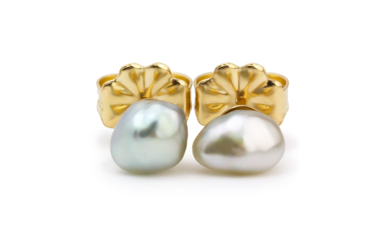 White Baroque Tahitian Keshi Pearl Stud Earrings