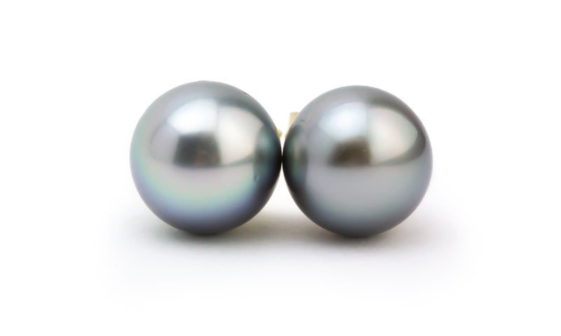 Lightest Silvery Lavender Tahitian Pearl Stud Earrings