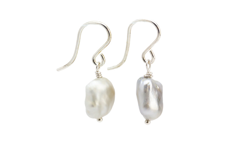 Baroque Silvery White Tahitian Keshi Pearl Dangle Earrings