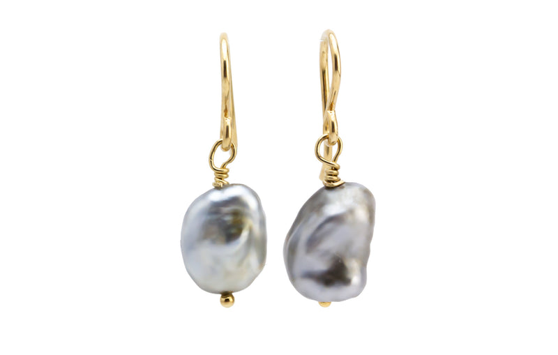 Silvery Tahitian Keshi Pearl Dangle Earrings