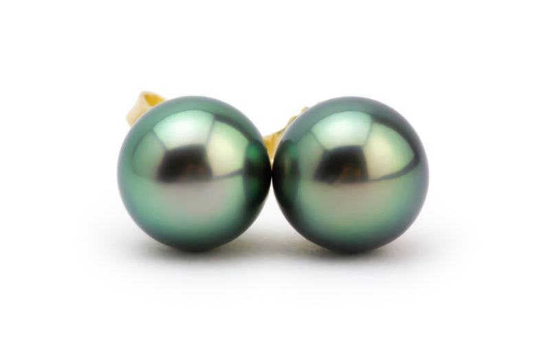 Green Dream Tahitian Pearl Stud Earrings
