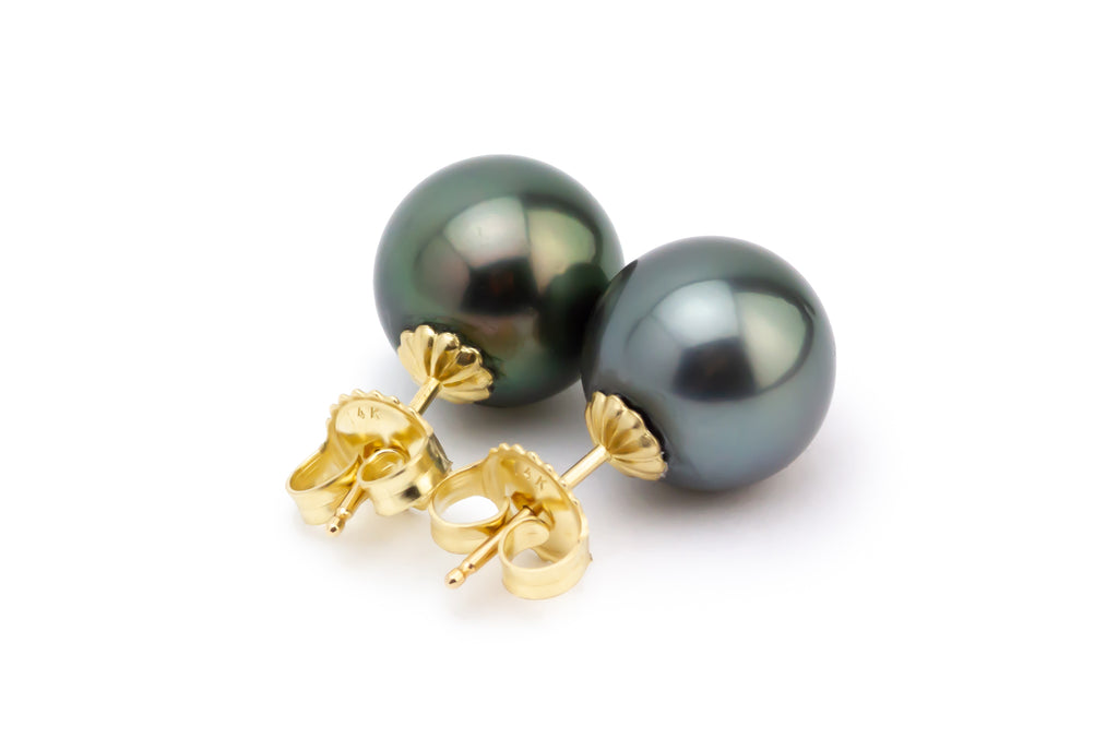 Statement Dark Green 11mm Tahitian Pearl Stud Earrings