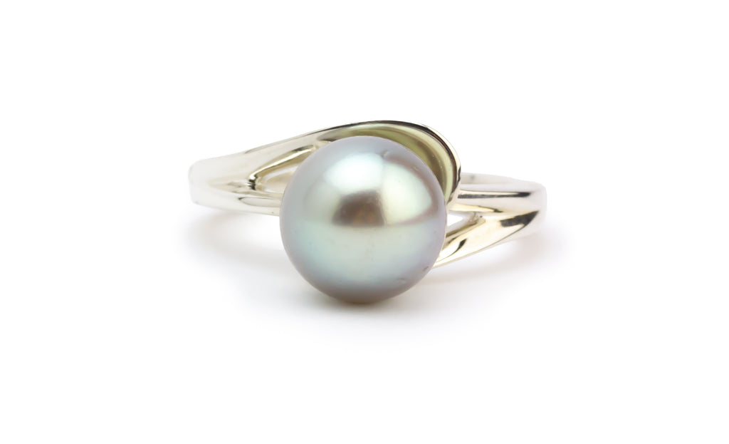 Lightest Silvery-Blue Swirl Tahitian Pearl Ring