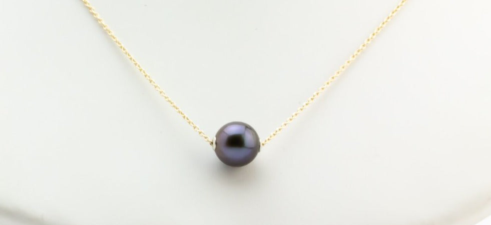 Purple Midnight Tahitian Pearl Solitaire Necklace