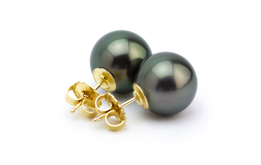 Midnight Glow Tahitian Pearl 12mm Statement Stud Earrings