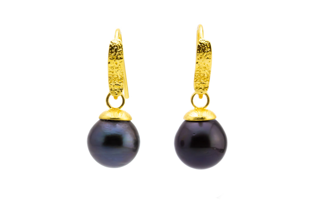 Purple Midnight Tahitian Pearl 18KP Gold Dangle Earrings