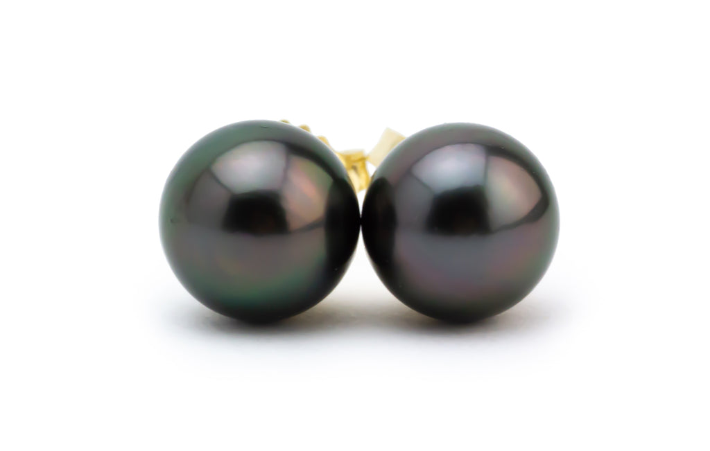 Petite Plum Midnight Tahitian Pearl Stud Earrings