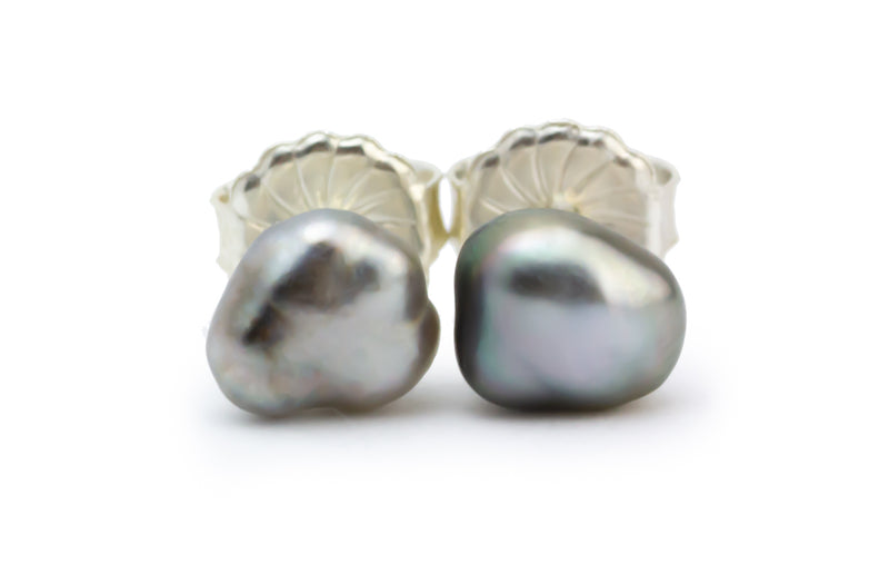 Silvery Tahitian Keshi Pearl Stud Earrings on Sterling