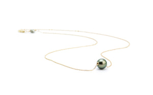 Peacock Green Tahitian Pearl Solitaire Necklace