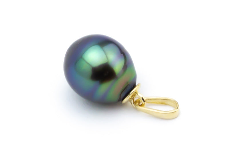Flashy Blue Green Drop Tahitian Pearl Pendant