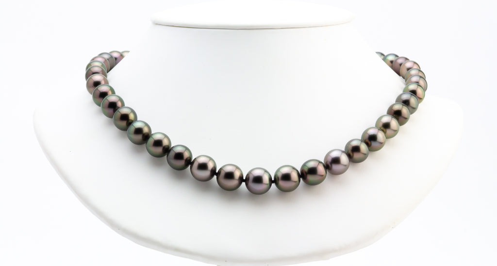 Aubergine red purple Tahitian pearl necklace strand 9 to 11mm