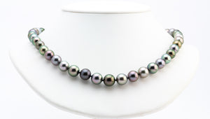 Bright multicolor Tahitian pearl necklace strand