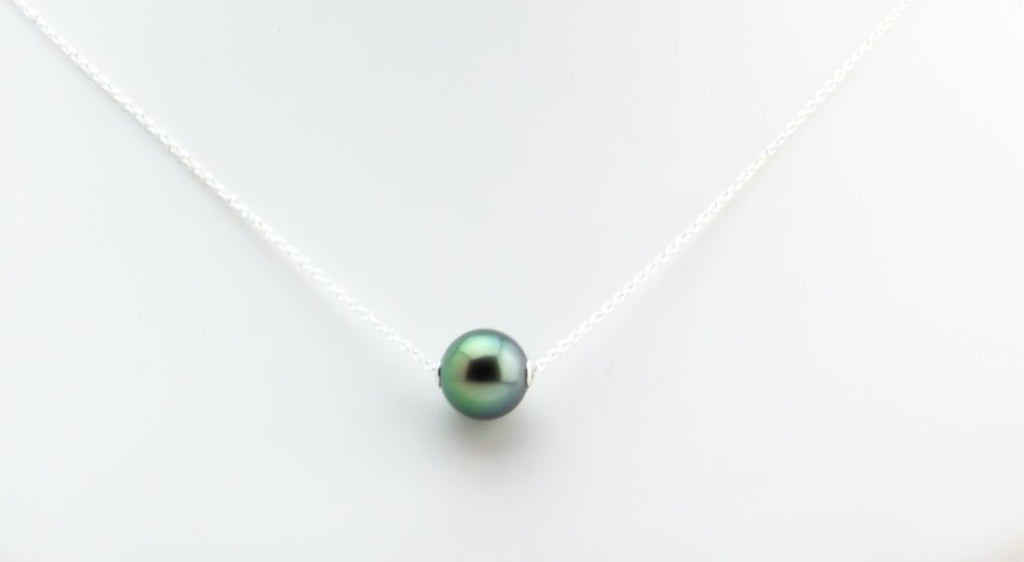 Bright Green Peacock Tahitian Pearl Solitaire Necklace