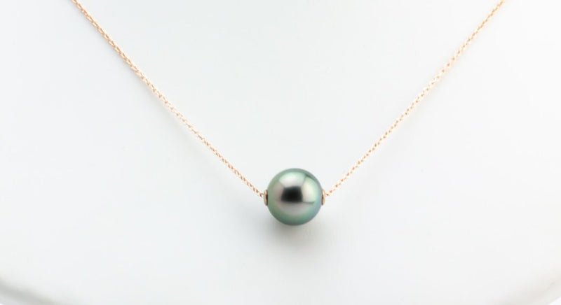 Light Peacock Green on Rose Gold Tahitian Pearl Solitaire Necklace