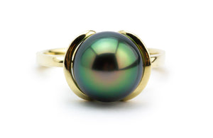 Bright Green Peacock Tahitian Pearl Petal Ring