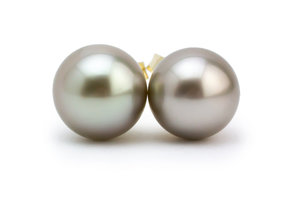 Petite Golden White Tahitian Pearl Stud Earrings