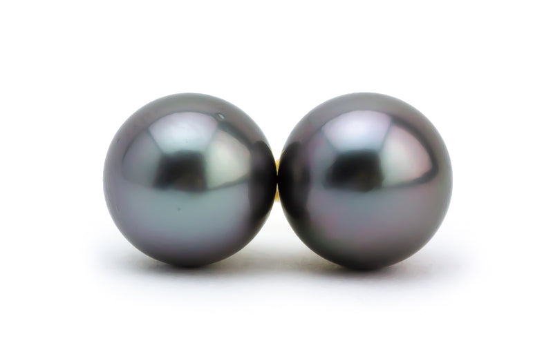 Purple pink blue Tahitian pearl stud earrings 10mm