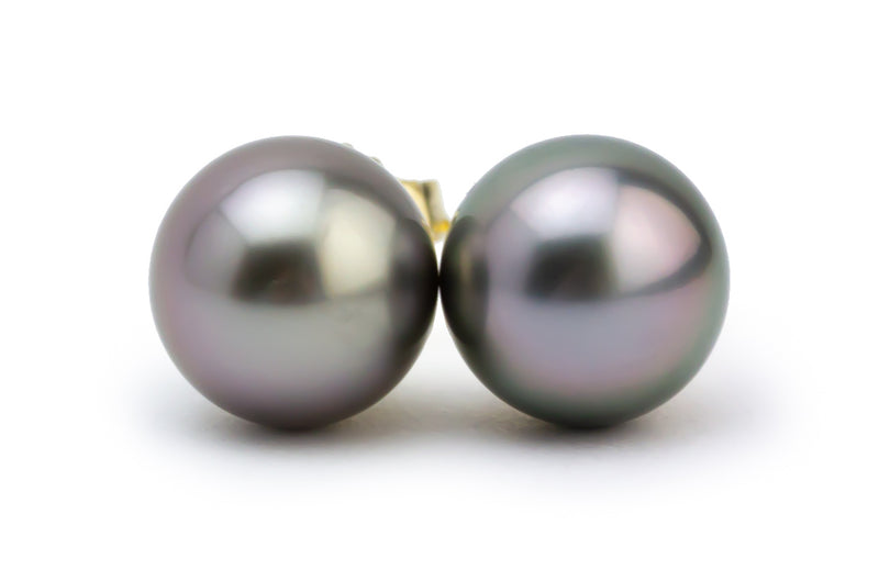 Light silvery pink Tahitian pearl stud earrings 8.5mm