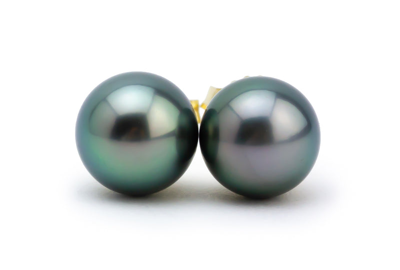 Petite Green Tahitian Pearl Stud Earrings