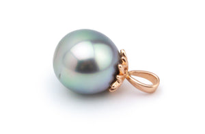 Misty Rainbow Drop Tahitian Pearl Pendant on Rose Gold