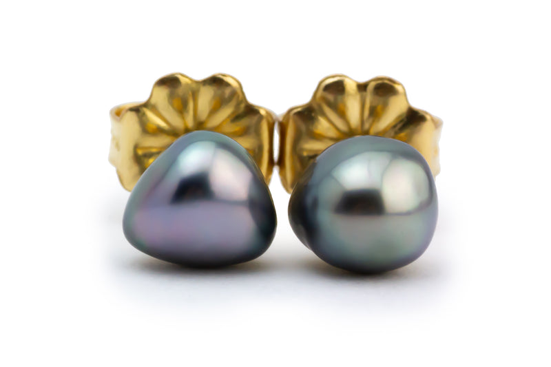 Pink-Green Glow Tahitian Keshi Pearl Stud Earrings