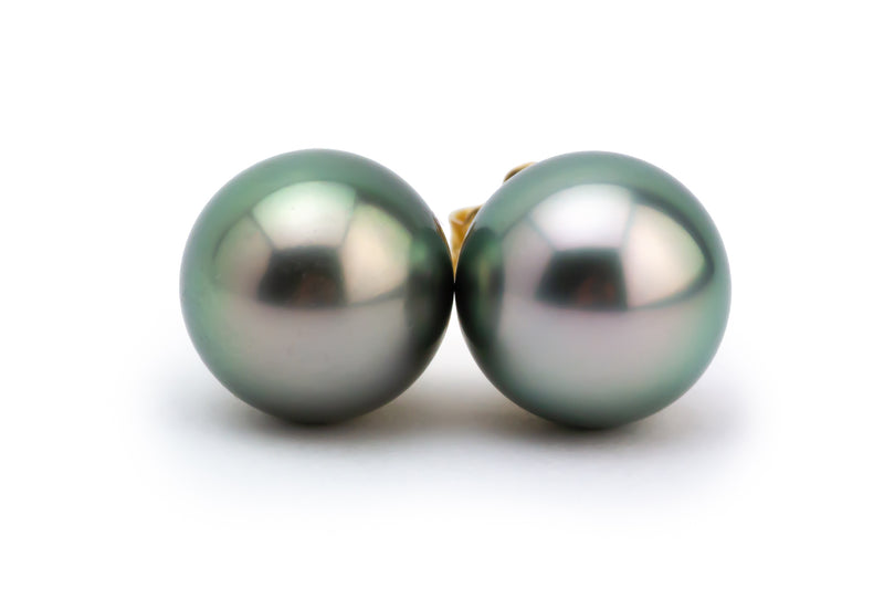 Light Green Peacock Tahitian Pearl 10mm Stud Earrings
