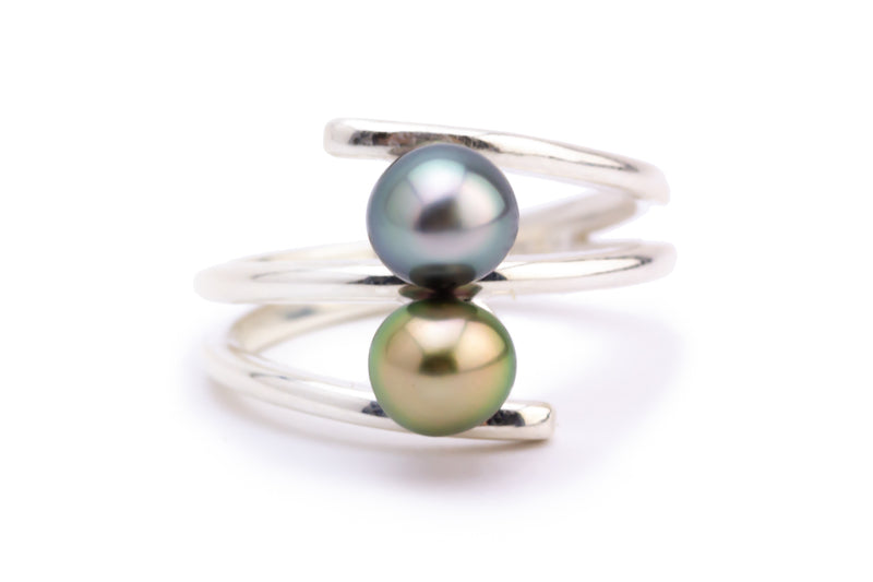 Double Tahitian Keshi Pearl Ring
