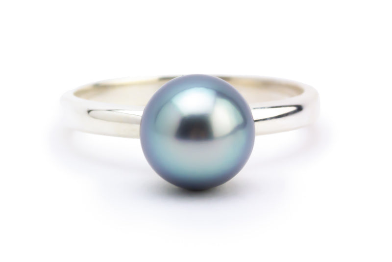 Brilliant Blue Tahitian Pearl Ring