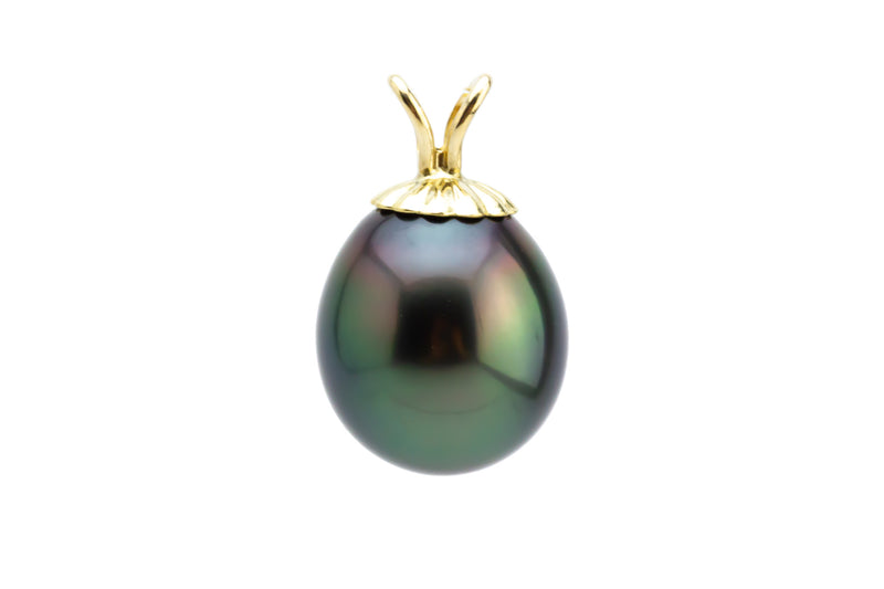 Dark Peacock Green Tahitian Pearl Drop Pendant