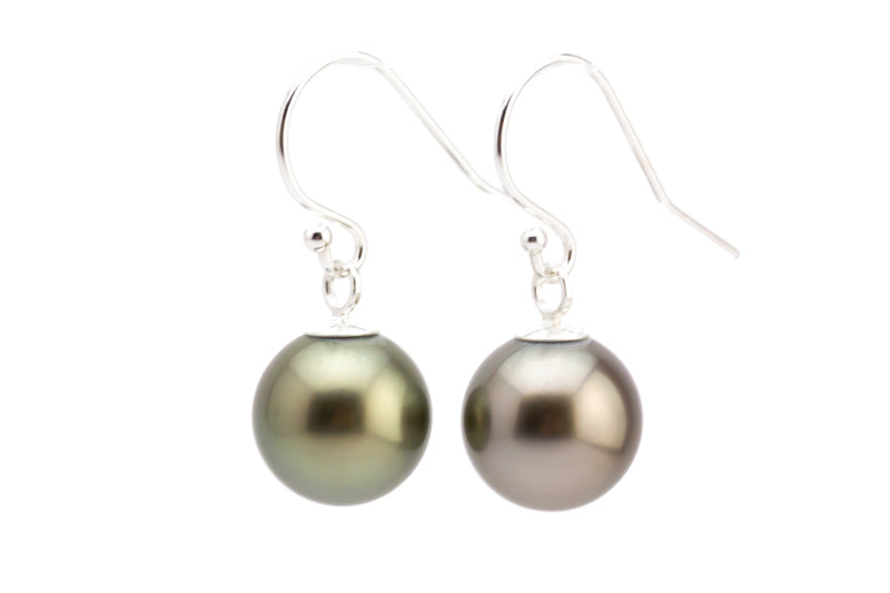 Silver on Silver Tahitian Pearl Dangle Earrings