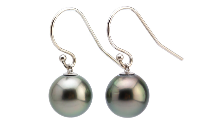 Silvery Peacock Tahitian Pearl Dangle Earrings